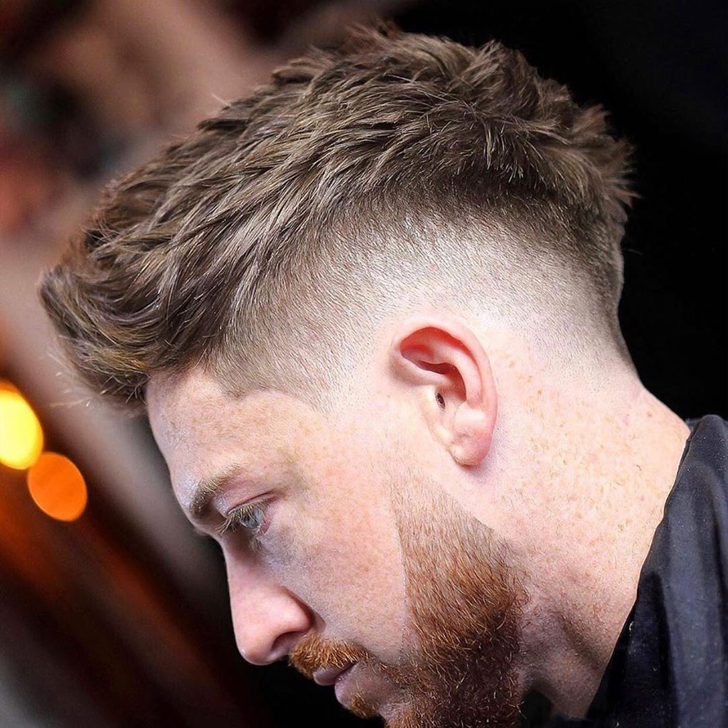 2 mens hairstyle beard medium fade messy textured top