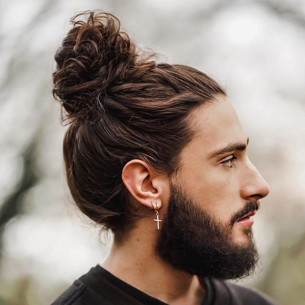 3 mens hairstyle long high bun medium beard 1