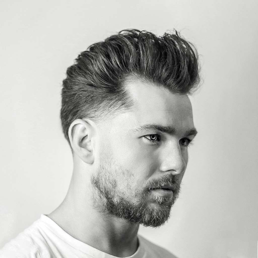 6 short fade slick back medium length