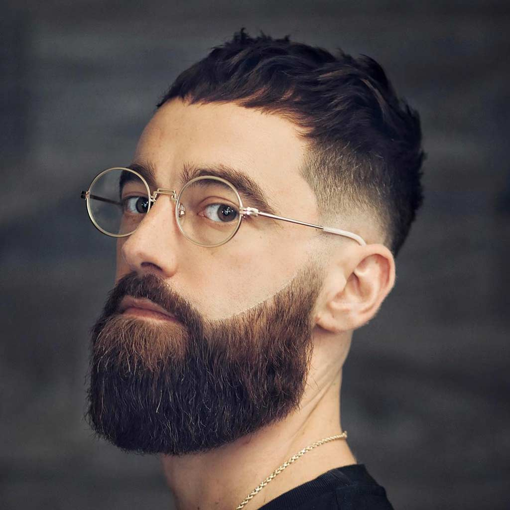 7 low fade wavy slickback long beard